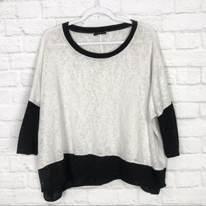 Nally & Millie Dolman Crewneck Sheer Oversized Top